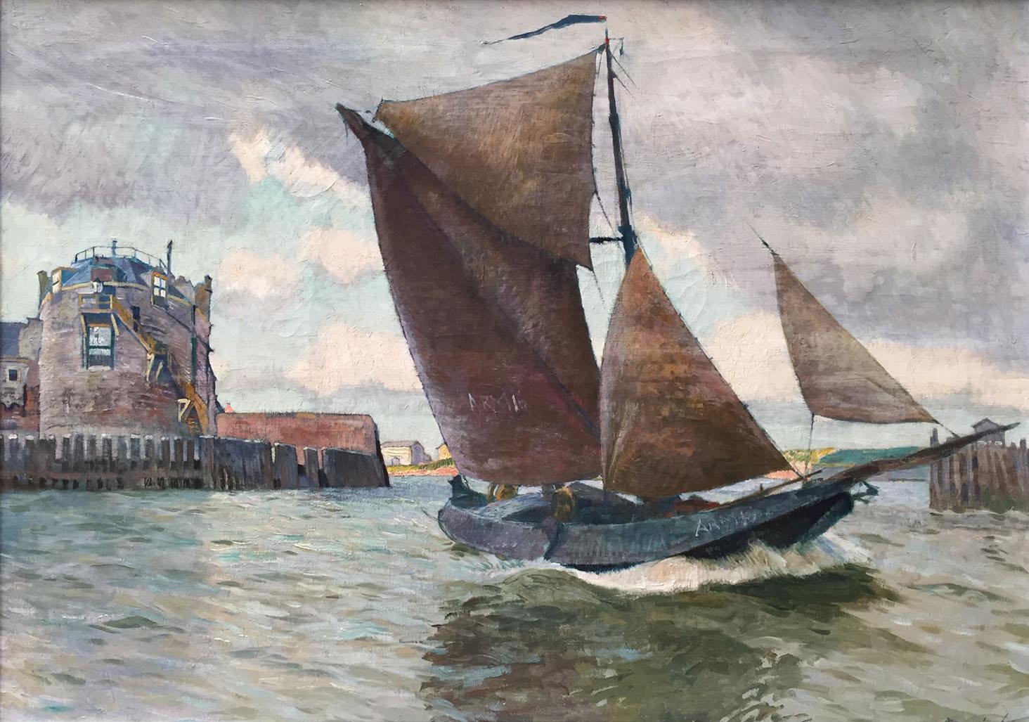 Maurice Sijs (1880-1972) Thee hoogaars ARM 16 at the Kampveerse tower, Veere