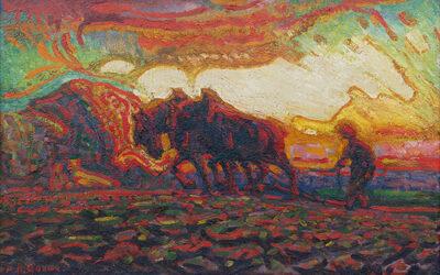 ADRIAAN HERMAN GOUWE (1875-1965) PLOEGENDE BOER (CA.1910)